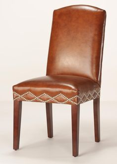 This diamond pattern of nailhead trim takes a skilled upholsterer to apply. Each nail is hand applied, one at a time. Leather Dining Room Chairs, Parsons Chairs, Wing Chair, Oversized Chair, Nailhead Trim, Diamond Pattern, Somerset, Comfy, Interior Design