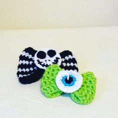 Crochet monsters inc and Jack skellington bow  Original design by me @ qtstitch on instagram