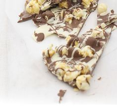 Toffee popcorn bark. This simple chocolate slab broken into pieces is a crunchy and moreish snack, perfect for a kids party