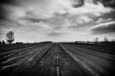 Road to Nowhere by Dave Butterworth - EyeWasHere™ Photography - www.eyewashere.net - Upstate NY Black and White Landscape Photography Print - Fine Art - Airport - Clouds - Beautiful - New York