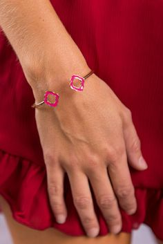 """""""Closer To You Bracelet, Pink"""" If you want to be close to this bracelet you better go ahead and get it! Because we can't promise it will be here if you wait! It simplistic style is complimented so well by the pop of color! #Newarrivals #shopthemint"""
