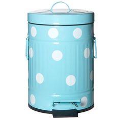 R$ 184,50 Lixeira de metal com pedal azul e branca 5 litros - Utensílios Domésticos / Utilplast - Utilplast
