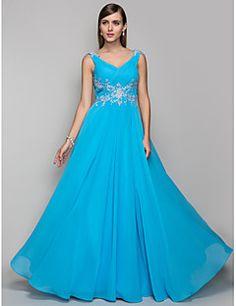 Vaina / columna v-cuello piso longitud vestido de fiesta de gasa con rebordear por ts couture® – USD $ 435.00