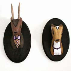 Make your own faux-taxidermy deers from materials from a hobby shop. Kari, maybe you could do a squirrel!