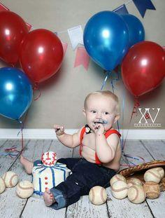 First birthday cake smash. Baseball cakesmash. All american boy 1st birthday photoshoot