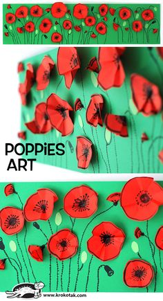 Poppies art for Anzac Day or Remembrance Day. Lovely craft activity for children. Remembrance Day Activities, Remembrance Day Poppy, November 11 Remembrance Day, Poppy Craft For Kids, Art For Kids, Kindergarten Art, Preschool Art, Spring Art, Spring Crafts