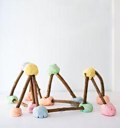 Homemade Playdough Stick Structures.