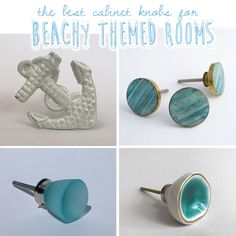 Coastal Design ~ Beach Themed Drawer and Cabinet Knobs Ceramic Door Knobs, Glass Knobs, Cabinet Knobs, Cabinet Hardware, Beachy Room, Design Your Home, Blue Design, Room Themes, Mother Pearl
