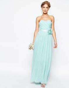 Bild 1 von ASOS WEDDING – Langes Bandeau-Kleid aus Chiffon mit abnehmbarem Blumengürtel