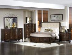 Abramo Dark Cherry Wood Linen Queen Bed,  Item No. : 58833, SKU : HE-2125-1. $801. same but just in the dk cherry