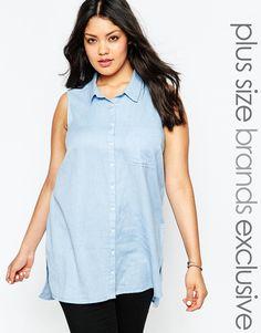 New Look Inspire Sleeveless Chambray Shirt