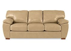 La-Z-Boy — Zack Sofa — covered in Leather, cover color Saddle [pillow cover color N/A]
