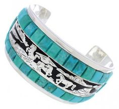 Turquoise And Jet Southwest Sterling Silver Horse Bracelet NX27183 http://www.silvertribe.com