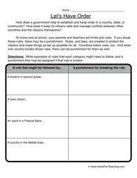 Lets Have Order Worksheet - Have Fun Teaching