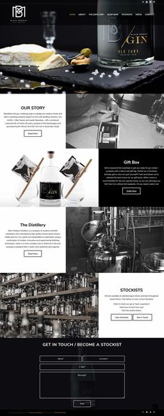 Modern, image heavy monochrome website for gin distillery. Minimal WordPress website design- design by Wild Heart Design SA #website #webdesign #webdevelopment #wordpressthemes #wordpress #websitedesign
