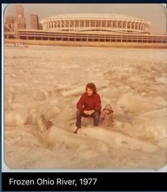 Cincinnati Ohio. Riverfront Stadium in the background....yep, I don't walk on ice but had a lot of friends who walked across the river!