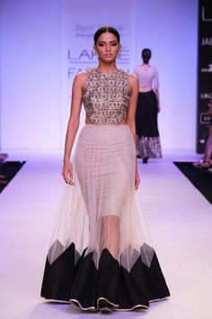 JEZMINE Gold Geometric Embroidered Yoke with Tulle Panels and Black Triangle Hem www.payalsinghal.com/off-the-runway/jezmine