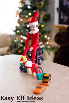 Elf car parade and lots of other fun easy Elf on a Shelf Ideas perfect for Toddlers!