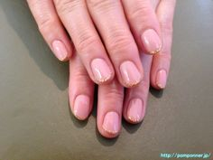 Extra fine glitter french nail gold ゴールドの極細ラメフレンチネイル