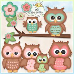 Cute Owls 2 - NE Kristi W. Designs Clip Art : Digi Web Studio, Clip Art, Printable Crafts & Digital Scrapbooking!