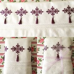 Nice pattern but the tassels would be a m enace Diy Embroidery, Machine Embroidery, Embroidery Designs, Cross Stitch House, Cross Stitch Borders, Cross Stitch Finishing, Snowflake Pattern, Bargello, Hand Stitching