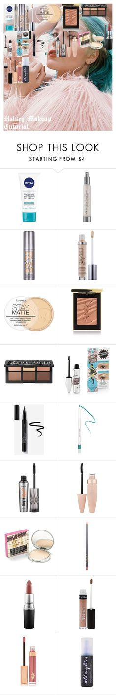 """""""Halsey Makeup Tutorial"""" by oroartyellie on Polyvore featuring beauty, Nivea, Urban Decay, Rimmel, Yves Saint Laurent, Kat Von D, Givenchy, Benefit, Maybelline and MAC Cosmetics"""