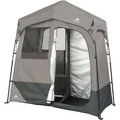 Instant Utility Shelter 2 Room Dark Grey Camping Tent 5 Gal Solar Heated Shower