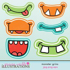 Monster Grins Cute Printable Birthday Party Favors. $5.00, via Etsy.