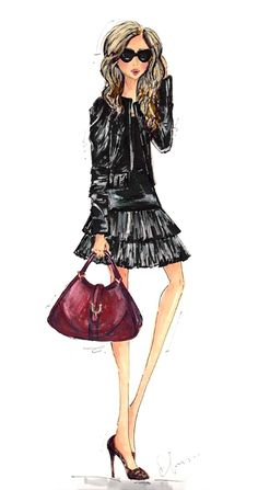 Illustrations by Anum Tariq ~ The stylish Helena of Brooklyn Blonde is so perfectly fall in this chic look. Leather on leather, bordeaux, and a little leopard—love it!