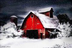 *SNOWFALL ~ on red barn
