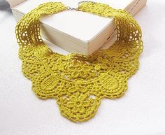 mustard yellow lace collar necklace-romantic  lace collar- fashion Lace collar necklace via Etsy
