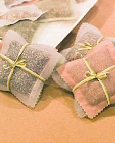 Organza Sachets - certain herbs, such as lavender, tansy, and wormwood, not only are sweet smelling but also have moth-repellent properties. Combine these herbs in a sachet to put in closets or drawers; organza sachets are easy to make and are a lovely, practical holiday gift.
