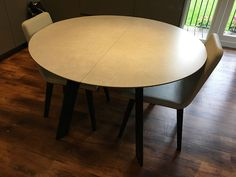 round table with extensions stored underneath the table. Easy to extend and premium material surface. Delivered to our client in Hertfordshire. Leather Bed, Ceramic Table, Sofa Design, Modern Bedroom, Contemporary Furniture, Extensions, Dining Table, Surface, Moon
