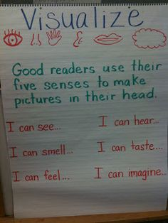anchor chart to help students create mental images.Great anchor chart to help students create mental images. Reading Workshop, Reading Skills, Teaching Reading, Teaching Ideas, Student Teaching, Teaching Resources, Visualizing Anchor Chart, Writing Anchor Charts, Sensory Language