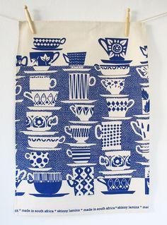 Beautiful Designed Tea towel by skinnylaminx (Heather Moore) - Everyone Came to Tea, in china blue. $17.70, via Etsy.