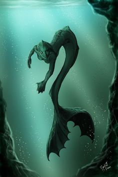 """""""Mermaid by dansk.deviantart.com on @deviantART"""" I feel like if mermaids did exist, this is how they would start and then we would get the more humanistic ones from mermaid and human cross breeding"""