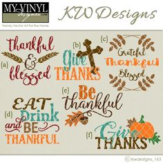 DIGITAL DOWNLOAD ... Thanksgiving Vectors in AI, EPS, GSD, & SVG formats @ My Vinyl Designer #myvinyldesigner #kwdesigns