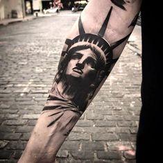Statue of Liberty by Dez Native Tattoos, Dope Tattoos, Badass Tattoos, Forearm Tattoos, Tattoos For Guys, Tatoos, Half Sleeve Tattoo Stencils, Tattoo Sleeve Designs, Sleeve Tattoos