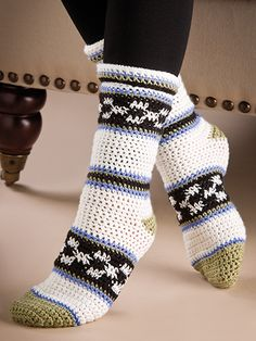 Free Crochet Pattern Download -- These Checks & Stripes Socks, designed by Jewdy Lambert, are featured in episode 7, season 3 of Knit and Crochet Now! TV. Learn more here: https://www.anniescatalog.com/knitandcrochetnow/patterns/detail.html?pattern_id=98&series=2