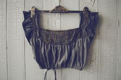 PIXIE Top in Gun Metal Grey and Tartan Ready to by Flutterbydaisy, $60.00