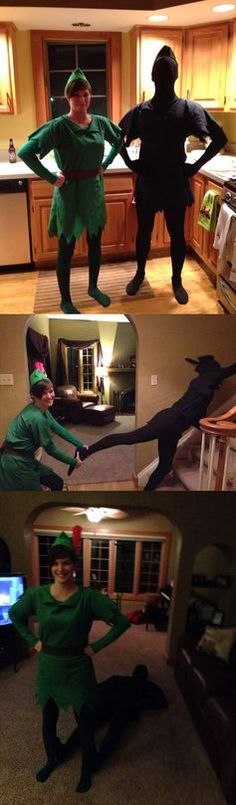Halloween costumes - 11 Halloween Couples costumes That Are Actually Brilliant. Convincing your hubby to be the other half of your genius Halloween costume idea can be tough, but Peter Pan and his shadow is an easy last minute idea! To make life easier, we've put together the cleverest couple costumes on the internet at redbookmag.com.