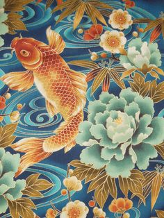 Japanese Kimono Fabric with Gold Metalic Outlining, Ocean Blue with Peony Blossoms and Swimming Koi Fish - Fat Quarter Fabric Cotton Print