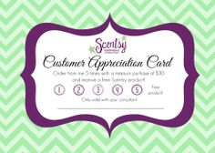 Customer Appreciation Card - print on cardstock and fill in your name, then give to customers to help increase the possibility of repeat orders! Appreciation Cards, Customer Appreciation, Scentsy Games, Scentsy Bar, Scentsy Independent Consultant, Jewelry Candles, Fill, Promotion Tools, Yankee Candles