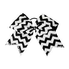 Black and White Chevron Striped Bow Ponytail Holder