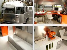 """Airstream's commercial division has launched the Mobile Office to """"solve your unique transportation needs"""". The mobile office is custom designed to meet various business applications. Special wiring, generator, kitchen, bathroom, heating, it can all be done to make your executive transporter your office away from the office. The MoCo design Nissan Mobile Office is pictured."""