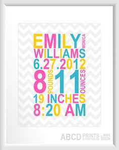 Birth Print Custom Birth Stats Nursery Art Baby Name