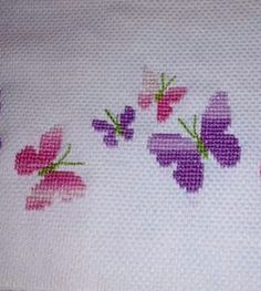 Knvc Embroidery Patterns, Hand Embroidery, Cross Stitch Patterns, Papillon Rose, Butterfly Cross Stitch, Lavender Bags, Cross Stitching, Needlepoint, Birthday Cards