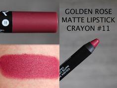 Golden Rose Lipstick, Golden Rose Cosmetics, Crayon Lipstick, Lipstick Colors, Lip Makeup, Beauty Makeup, Rose Brand, Velvet Matte