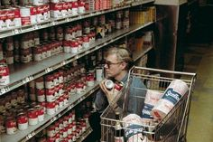 Andy Warhol shopping for Campbell's Soup, 1965  -- going to try this in my local pretentious Publix and see what happens Jane Fonda, Robert Rauschenberg, Pop Art, Pablo Picasso, Art Marilyn Monroe, James Rosenquist, Campbell's Soup Cans, Magnum Photos, Martini