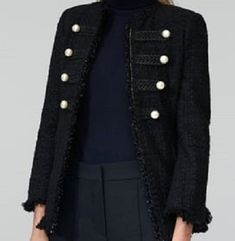 NWT ZARA Black Jacket with Pearl Buttons Frayed Tweed Blazer Size S Ref.7767/701 #ZARA #OtherJacket #Casual Zara Jackets, Tweed Blazer, Zara Black, Pearl, Buttons, Clothes For Women, Coat, Casual, Fashion